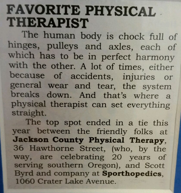 Medford News and Review: Jackson County Physical Therapy voted favorite physical thereapist